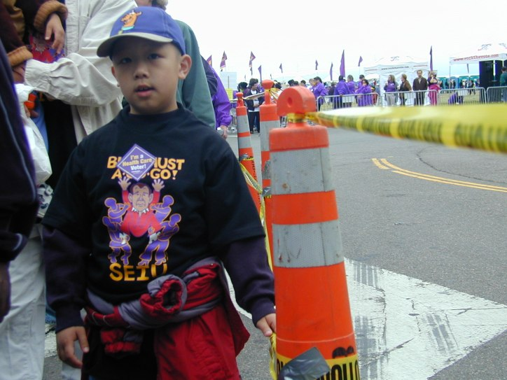 Little boy in the march